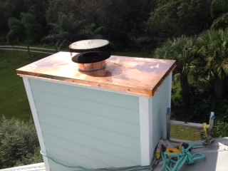 Fabricated a new custom copper chimney cap.